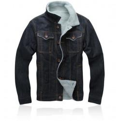 Fashion Men Demin Short Coat  Fleece Lined Denim Shirt Jacket