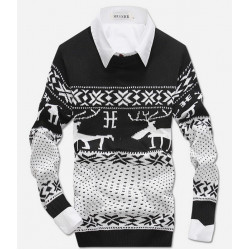 Fashion Men's  Crew-Neck Deer  Patterns Long Sleeve Sweater Pullover