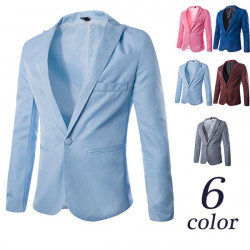 Mode Män Slim Casual Suit Pekade Krage Bright Color Blazer