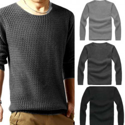 Fashion Mens Slim Sweater Casual Knit Pullover Long-sleeve Sweater