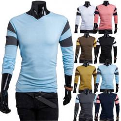 Fashion Mens Stitching Long-sleeved Shirt Multicolor Casual T-shirt