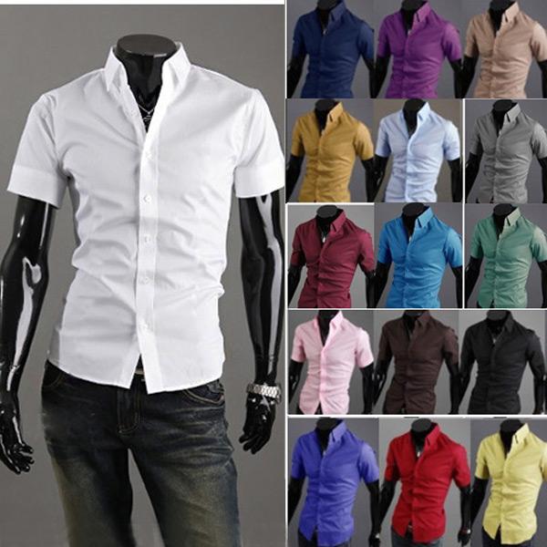 Mode Multi-Color Stand Collar Män Kortärmad Skjorta Herrkläder
