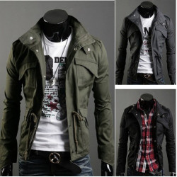 Mode Multi Tasche Zipper Stehkragen Männer nehmen Baumwolljacke