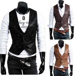 Mode PU Fur Vest Män Concise Joker Spring Autunm Casual Slim Vest