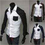 Mode mit aufgesetzten Taschen Gestreifte Männer Personalisierte langärmeligen T Shirt Herrenbekleidung
