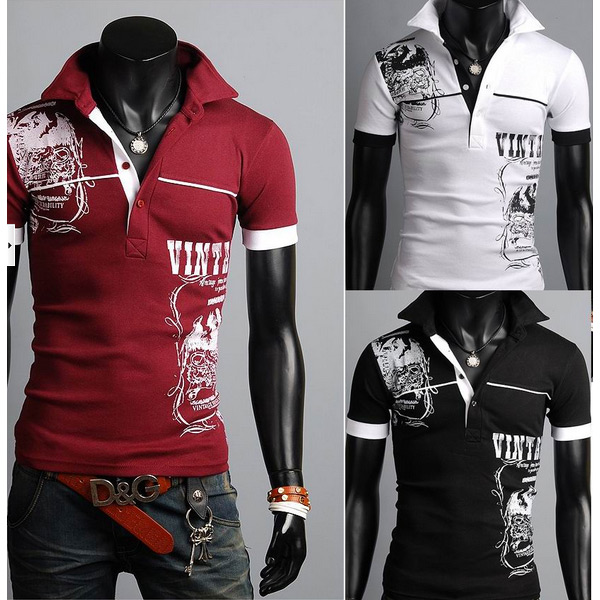 Fashion Slim Fit Solid Printing Men Polo Short Sleeve T-Shirt Men's Clothing