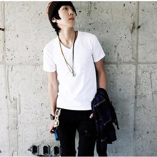 Fashion Solid Color V-neck Men's Short-sleeved T-shirt Men's Clothing