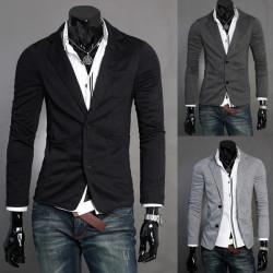 Fashion Turndown Collar Single-breasted Blazer Men Slim Suit Coat