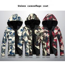 Fashion Unisex Camouflage Coat Warm Cotton Padded Mens Down Jacket