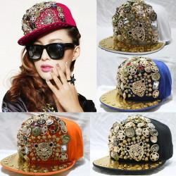 Hip-hop Spiky Rivets Hat Studded Button skull Leopard Adjustable Cap