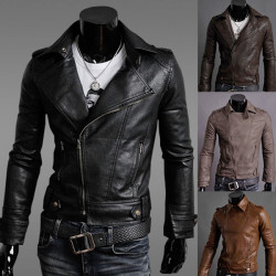 Hot New Stylish Men's Slim Fit PU Faux Leather Rider Jackets