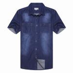 Män Blue Cowboy Kortärmad Slim Fit Shirt Herrkläder