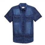 Men Blue Cowboy Short Sleeve Slim Fit Shirt Men's Clothing