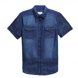 Men Blue Cowboy Short Sleeve Slim Fit Shirt