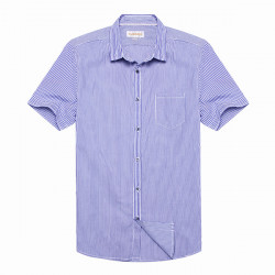 Mænd Blå Stribet Kortærmet Slim FiT Shirtr