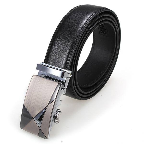 Men Business Suit Automatic Buckle Waist Strap Leather Belt Black Men's Clothing