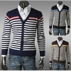 Männer Strickjacke mit V Ausschnitt Strickwaren warme Pullover 3 Farben