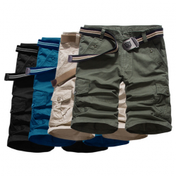 Men Casual Loose Cotton Blended Solid Cargo Shorts G569
