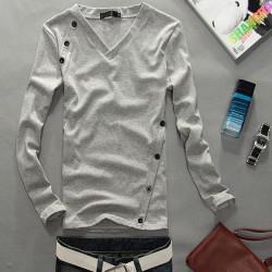 Mann beiläufige V Ansatz dünne Solid Color Langarm Button T Shirt