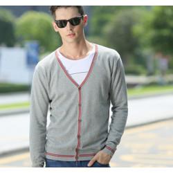 Men Contrast Color V-Neck Cardigan Sweater Jumper Tops Knitwear