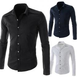Ausblenden Männer Baumwolle Langarm reine Farben Knöpfe Hemd