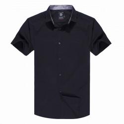 Men Cotton Blended Pure Color Short Sleeve Shirt