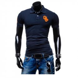 Men Cotton Polyester Embroidered Solid Short Sleeve Polo Shirt