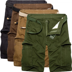 Men Cotton Solide Taschen lose Fracht Military Shorts 039