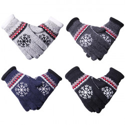Men Double Plus Velvet Thickening Warm Snowflake Knitting Gloves