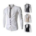 Herremode Dress Vest for Suit Eller Tuxedo Top 3 Knapper Veste Herretøj