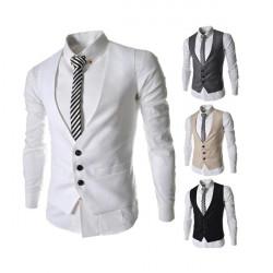 Män Dress Vest för Suit Eller Tuxedo Top 3 Knappar Västar