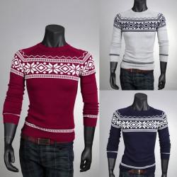 Männer Mode Pullover Rundhals Retro Muster Pullover Strickwaren