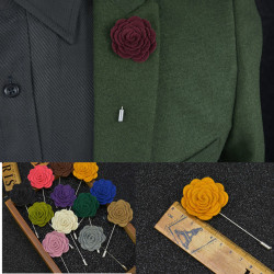 Män Flower Shape Lapel Handgjorda Bröllop Suit Tuxedo Boutonniere Stick Brosch Stift