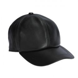 Män Äkta Läder Hatt Casual Adjustable Black Varma Mössor