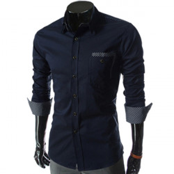 Men Grid Decorative Slim Fit Long-sleeved Shirt