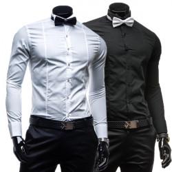 Männer Langarm Fliege Fest Hemd Formal Dress