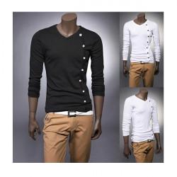 Män Långärmad T-Shirt Tröja Med Dekorativ Knapp Tre Färger