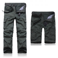 Men Multifunctional Multi-pocketed Cargo Dismountable Pants