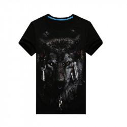 Män Rundan Förser Med Krage Kortärmad 3D Wolf Printing Shirt