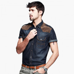 Men Short Sleeve Demin Fabric Patchwork Matching Shirt