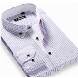 Men Slim Fit Casual Long Sleeve Turn-Down Collar Plaid Striped Shirt