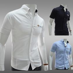 Men Slim Fit Leather Label Pocket Decoration Short Sleeve Shirts