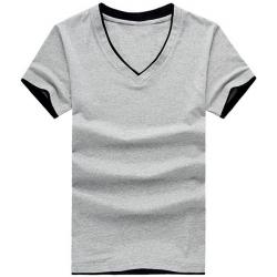 Men Solid Color Short Sleeved V-neck Shirt