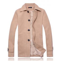 Men Stylish Slim Single Breasted Overcoat Trench Coat Warm Long Jacket