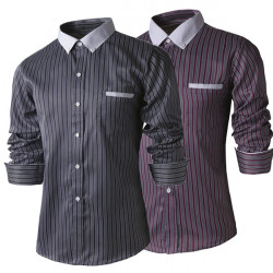 Men Vertical Striped Long-sleeved Shirt Slim Casual Blouse