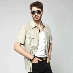 Män Viskos Lin Kortärmad Enkelknäppt Shirt