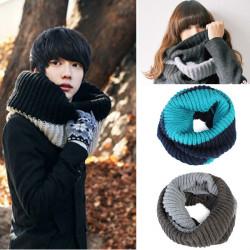 Men Women Braided Knit Wool Round Scarves Neck Wrap Shawls