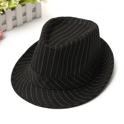 Men Women Cotton Fedoras Trilby Hat Bonnet Roll Brim Striped Cap