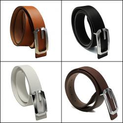 Men Women Metal Buckle Leather Business Belt