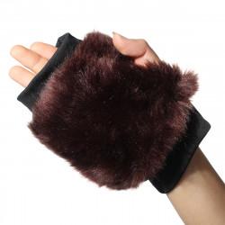 Men Women Style Rabbit Fur Cute Candy Wrist Warm Fingerless Gloves